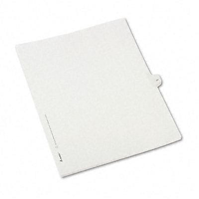 Avery® Allstate-Style Individual Number Legal Index Dividers; Title: 37, Letter, White, 25/pk