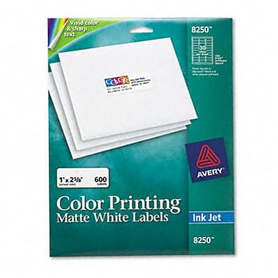 Avery® Color Printing Address Labels; Matte White, 1x2-5/8, 600 Labels