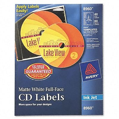 Avery® Full-Face CD Labels; Matte White, 4-1/2 Diameter, 40 Disc Labels/80 Spine Labels