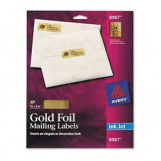 Avery® Gold Foil Mailing Labels; Gold, 3/4x2-1/4, 300 Labels