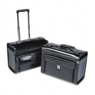 Rolling Computer/Catalog Case, Leather, 19w x 9d x 15-1/2h, Black