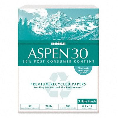 Boise ASPEN 30 Multi-Use 3-Hole Punched Recycled Paper, 8 1/2 x 11, White, 5000/Carton (054901-P)