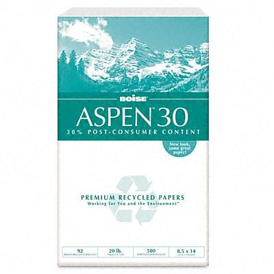 Boise ASPEN 30 Multi-Use Recycled Paper, 8 1/2 x 14, White, 5000/Carton (054904)