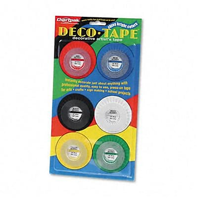 Deco Bright Decorative Tape; 1/8 x 8 Yards, Assorted, 6/Pack