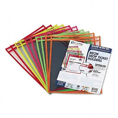 C-Line® Clear Vinyl Job Ticket Holders; Sheet Size 9x12, Neon Stitching, 10/box
