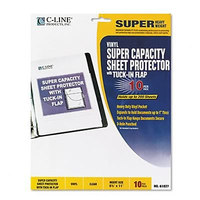 Super Capacity Vinyl Sheet Protector w/Tuck-In Flap; 10/Pack