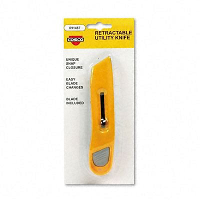 COSCO Utility Knives; Plastic, w/ Retractable Blade & Snap Closure, Yellow
