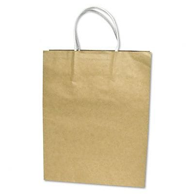 Paper Shopping Bags; Premium Small Brown Bags, 13Hx10Wx5D, 50/Box