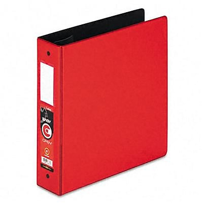 Cardinal® EasyOpen® Locking 2 Round Ring Binder with Label Holder; Non-View, Red, 3-Ring