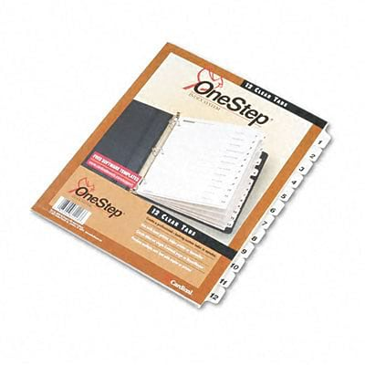 Traditional Onestep Index System, 12-Tab, 1-12, 8-1/2 x 11, WE, 12/set