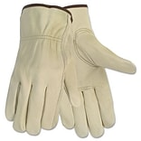 MCR™ Safety Economy Leather Drivers Gloves; Medium, White