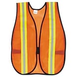 MCR™ Safety Vests; Orange, 2 Reflective Strips, Polyester, Side Straps, 1 Size