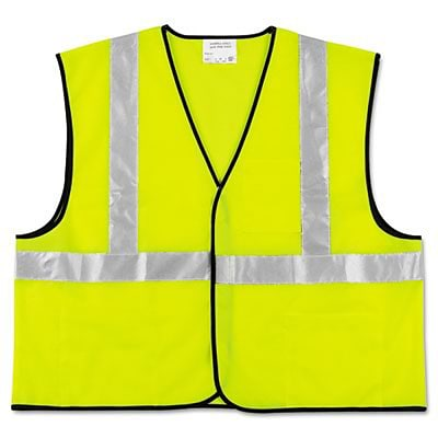 MCR™ Safety Vests; Class 2, Fluorescent Lime w/Silver Stripe, Polyester, XL