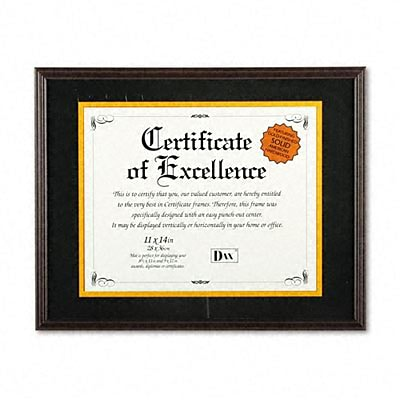 DAX® Hardwood Document/Certificate Frame with Mat; 11 x 14, Mahogany