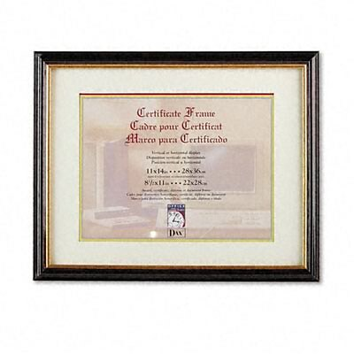 DAX® Document/Certificate Frame w/Mat; Laminated Wood, 11x14, Mahogany/Gold Leaf