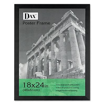 Black Wood Poster Frame with Plexiglas Window, Wide Profile, 18 x 24
