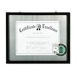 DAX® Contemporary Wood Document/Certificate Frame; Silver Metal Mat, 11x14, Black