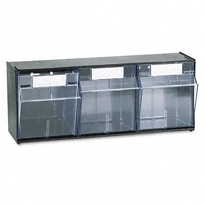 Deflect-O® Interlocking Tilt Bin™ Storage; Plastic System, Three Bins, 23-5/8 x 7-3/4 x 9-1/2, Black