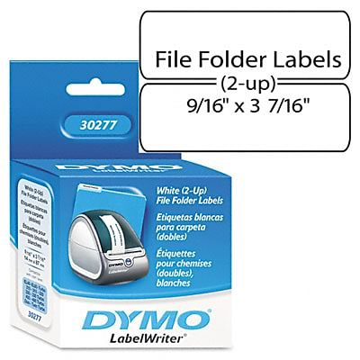Dymo® 2-Up File Folder Labels; 9/16x3-7/16, White, 260/Pack