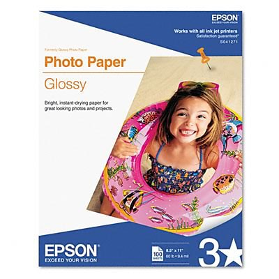 Epson® Glossy Photo Paper; 8-1/2 x 11, 100 Sheets per Pack