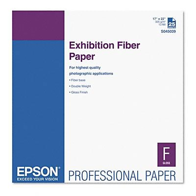 Epson® Exhibition Fiber Paper; Micro Porous Smooth Gloss, 17 x 22, White, 25/Pack