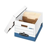 R-Kive Divider Box, Legal/Letter, 12 x 15 x 10, White/Blue, 12/Ctn