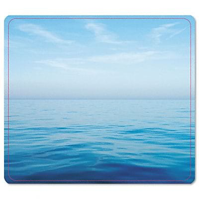 Recycled Mouse Pad, Nonskid Base, 7-1/2 x 9, Blue Ocean
