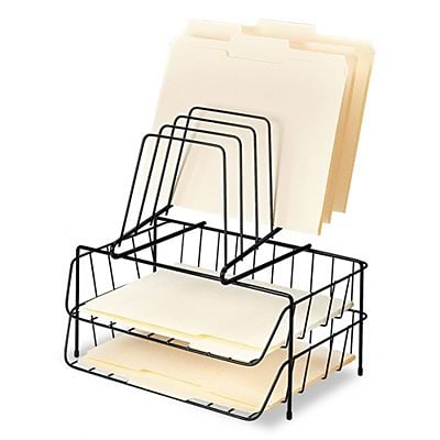 Double Tray with Step File, Eight Sections, Wire, 13-7/8w x 10-1/8d x 14h, Black