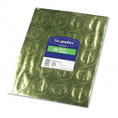 Geographics® Official Seal of Excellence Certificate Seals; Gold, 2 Diameter, 100/Pack