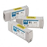 HP C9482A (HP91) Inkjet Cartridge; 3-Pack, Light Gray