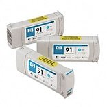HP C9483A (91) Inkjet Cartridgel; 3-Pack, Cyan