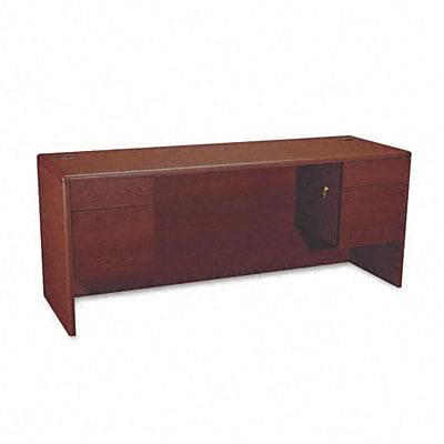 10700 3/4 Pedestal Kneespace Credenza, 72wx24dx29-1/2h, Mahogany Frame/Top