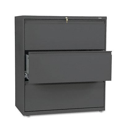 800 Series Three-Drawer Lateral File, 36w x19-1/4d, Charcoal