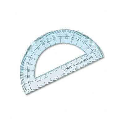 Clear Plastic Protractor; Open Center, 6 Ruler Edge
