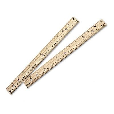 Economical Beveled Wood Ruler with Single Metal Edge, 12, Natural