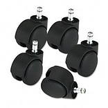 Futura Euro-Look Soft Wheel Casters, Black, Five per Set