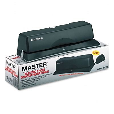 10-Sheet EP12 Electric/Battery Operated Three-Hole Punch, 9/32 Holes, Charcoal