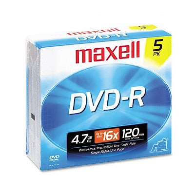 Maxell® DVD-R/DVD+R Discs; 4.7GB, 16x, Gold, 5-Pack w/Jewel Cases