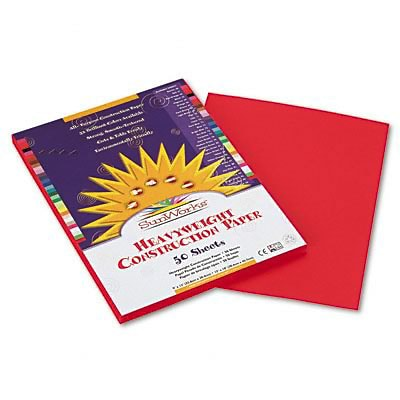 SunWorks® Construction Paper; 9x12, Holiday Red, 50 Sheets