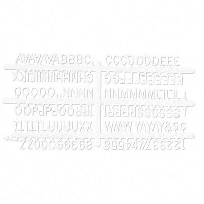 Plastic 1/2 Helvetica Characters for Grooved Boards, F Series, 144/set, White