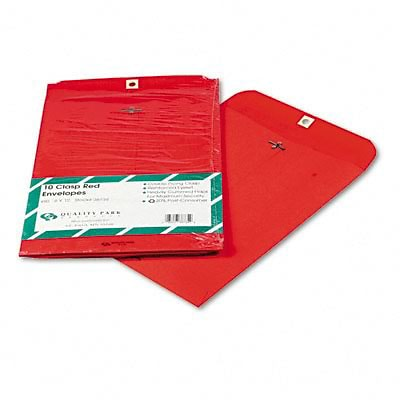 Quality Park® 28lb. Clasp Colored Catalog Envelopes; Red, 9x12, 10/Pack