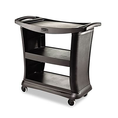 Rubbermaid® Executive Commercial Service Carts; 3-Shelf, 300lbs, 20-1/3x38, Black