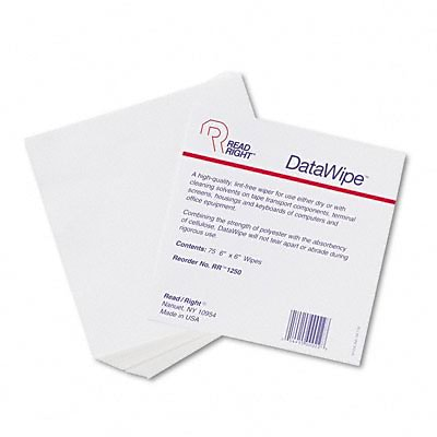 Read Right® DataWipe Office Equipment Cleaner; Cloth, 6 x 6, White, 75/container