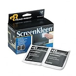 ScreenKleen Alcohol-Free Wipes, Cloth, 3-1/4 x 3-1/4, 14/box