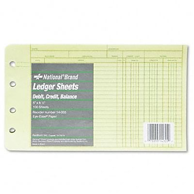 Extra Sheets for 4-Ring Ledger Binder, 8-1/2 x 5-1/2, 100/pack