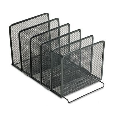 Mesh Stacking Sorter, Five Sections, Metal, 8-1/2w x 14-1/4d x 7-1/2h, Black