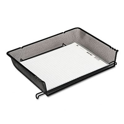 Nestable Mesh Stackable Side Load Paper Letter Tray, Wire, Black