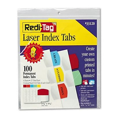 Printable Laser Index Tabs, 1-1/8in, Five Colors, 100/pack