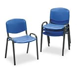 Contour Stacking Chairs, Blue with Black Frame, Four/carton