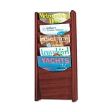 Solid Wood Wall-Mount Literature Display Rack, 5 Pockets, Mahogany